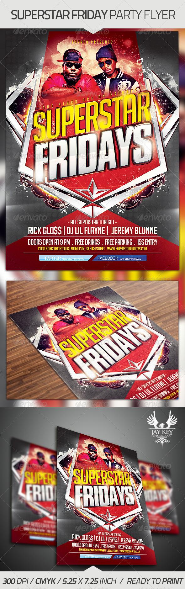 Superstar Fridays Party Flyer
