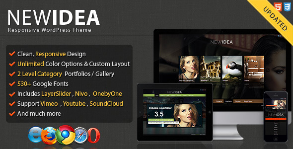 ThemeForest New Idea Responsive Layout Wordpress Theme 3578858