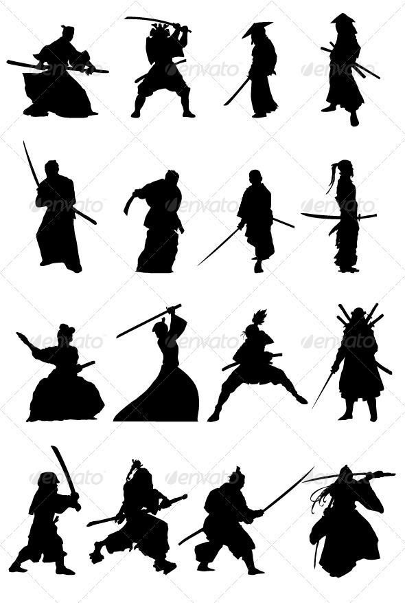 GraphicRiver Samurai Silhouettes Set 3683218