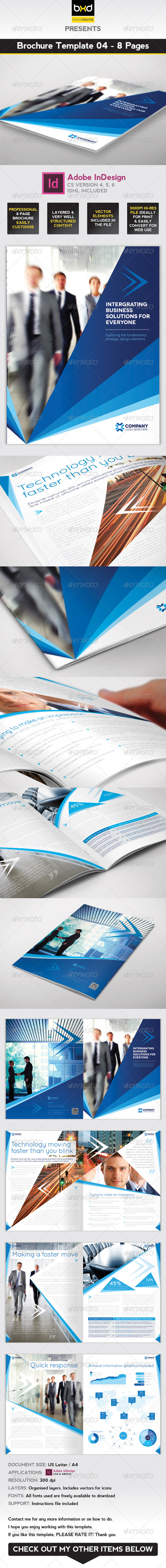 Brochure Template - InDesign 8 Page Layout 04 - Corporate Brochures