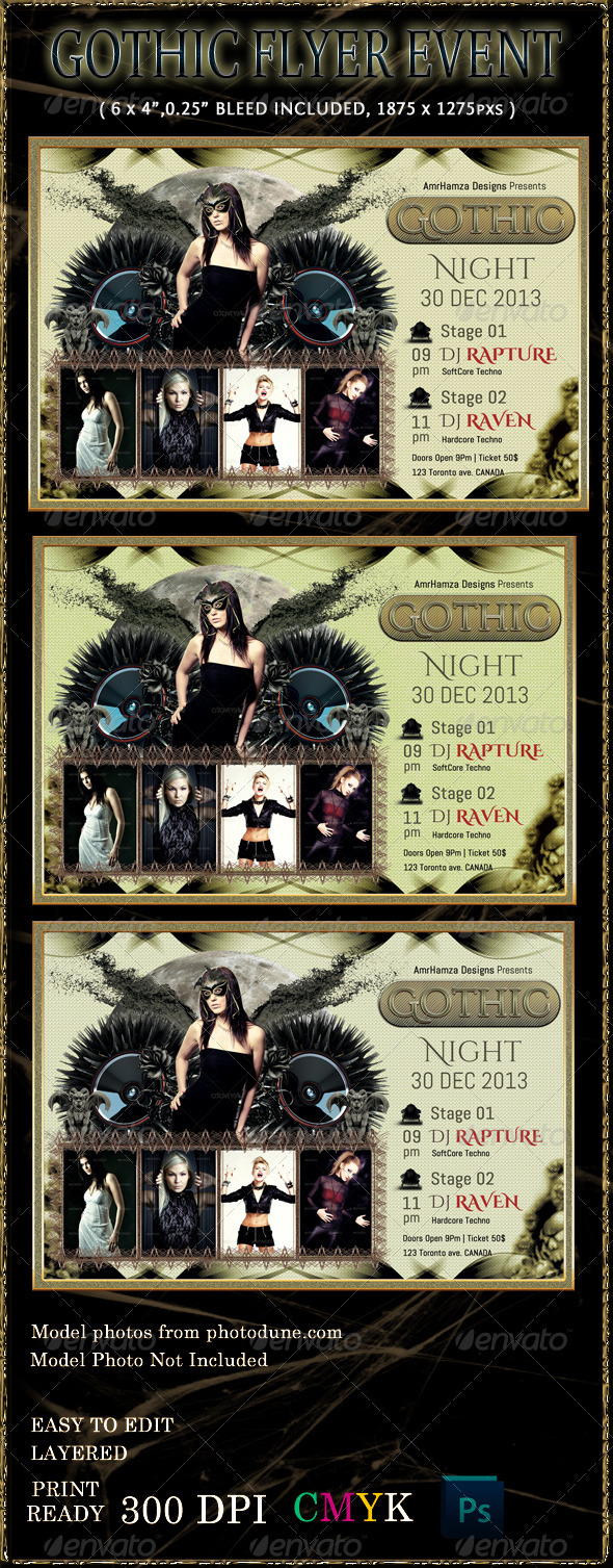 GraphicRiver Dark Gothic Flyer Event Template 3612536