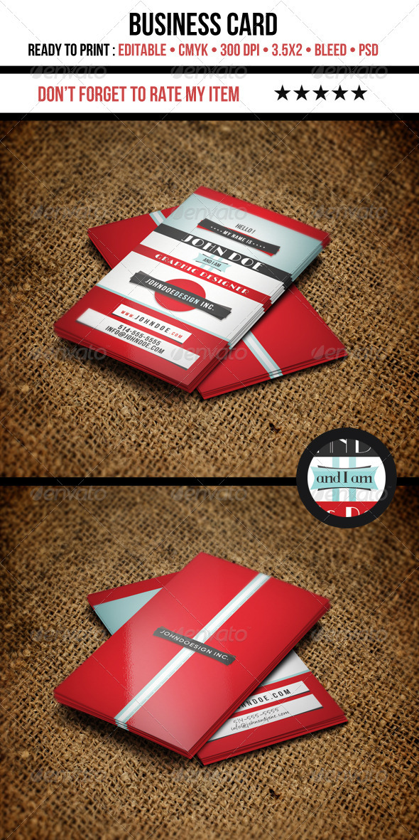 GraphicRiver Retro Graphic Designer Business Card 3614644