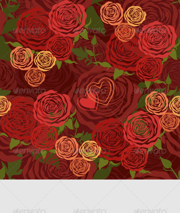 GraphicRiver Vector Floral Seamless Pattern with Flower Roses 3686811
