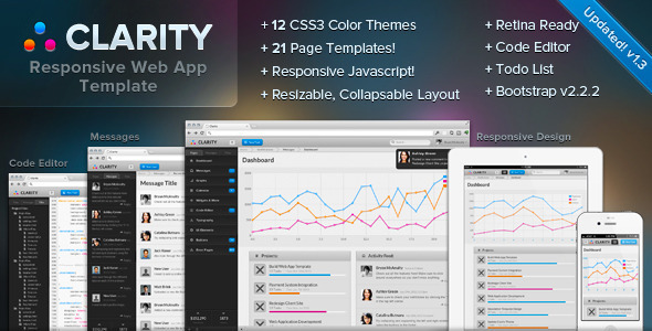 Clarity - Responsive Web App Admin Template: buy it for $18.00 now