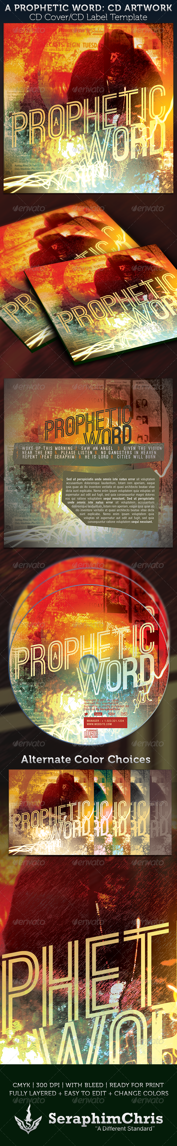 Prophetic Word CD Cover Artwork Template - CD & DVD artwork Print Templates