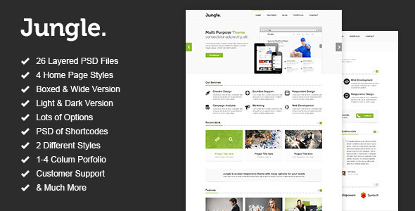 ThemeForest Jungle Unique Multi Purpose PSD Template 3056389