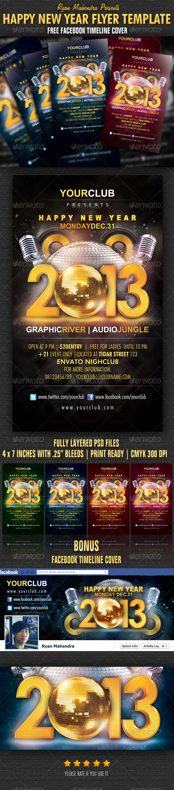 GraphicRiver Happy New Year Flyer Template 3638696