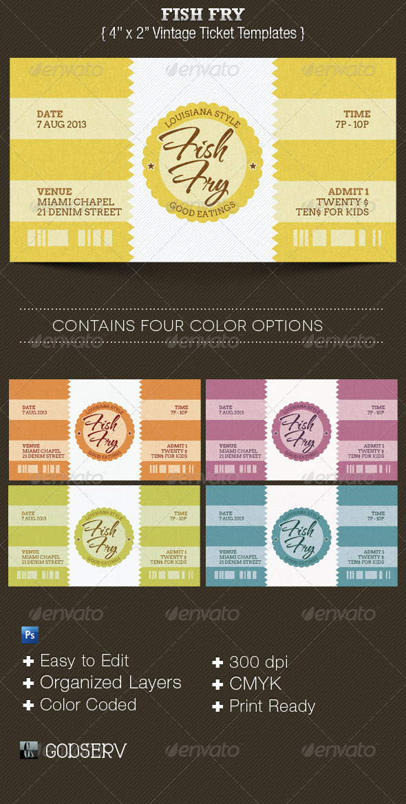 GraphicRiver Fish Fry Ticket Template 3688651