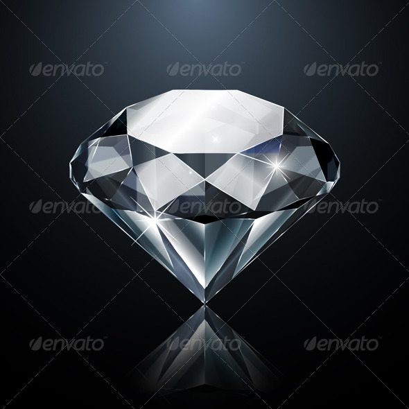 Dazzling Diamond on Black - Man-made objects Objects
