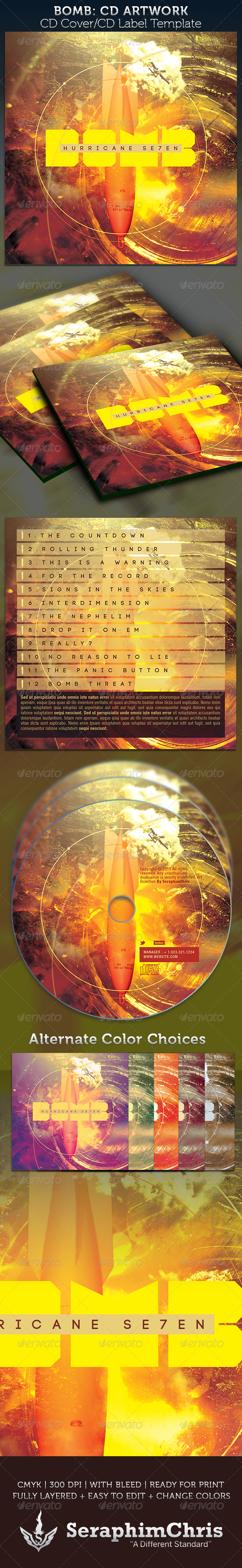 Bomb CD Cover Artwork Template - CD & DVD Artwork Print Templates