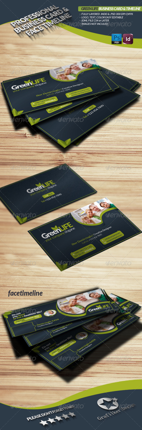 GraphicRiver Green Life Business Card & Face-Timeline 3642051