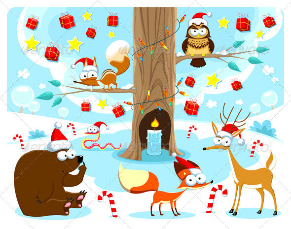 GraphicRiver Christmas in the Woods 3689626