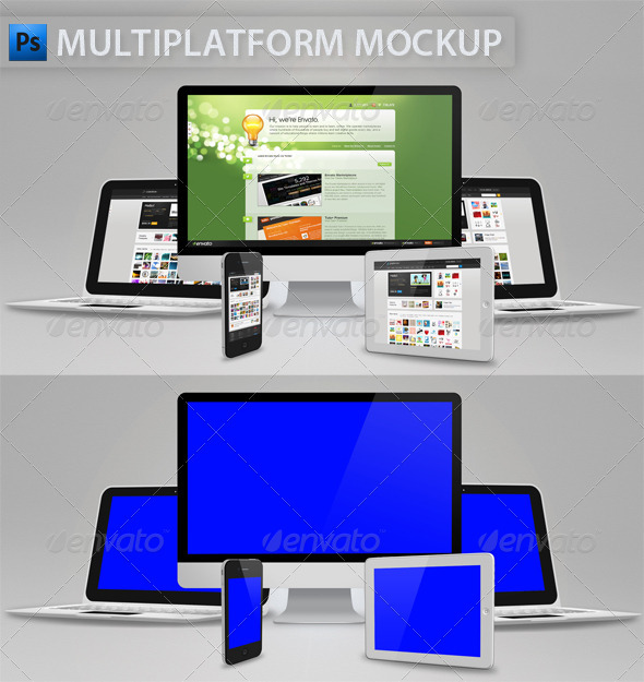 Multiplatform Mockup - Multiple Displays