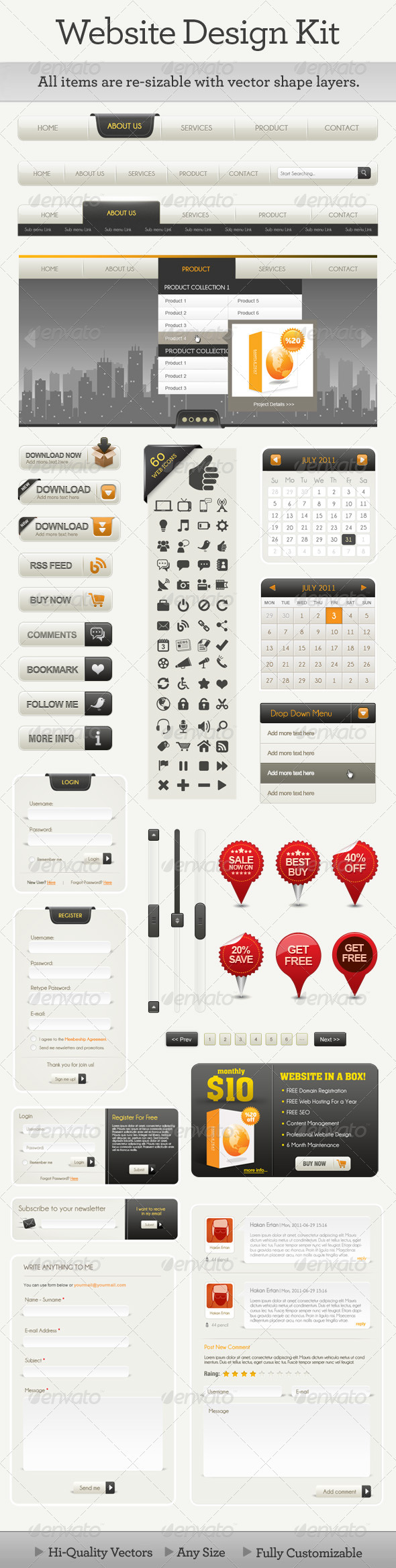 Website Design Kit - User Interfaces Web Elements