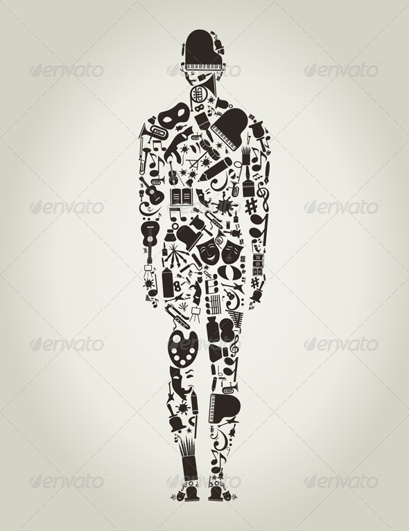 GraphicRiver Person Made of Art Elements 3690278