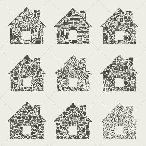 GraphicRiver Collection of Houses Made of Icons 3690307