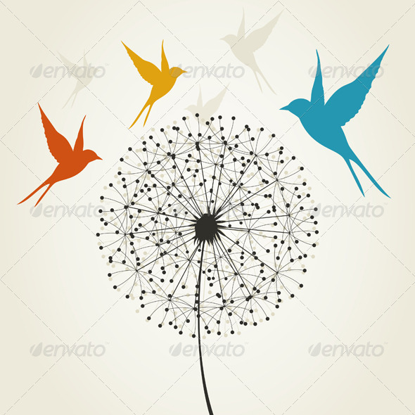 GraphicRiver Dandelion and Birds 3690312