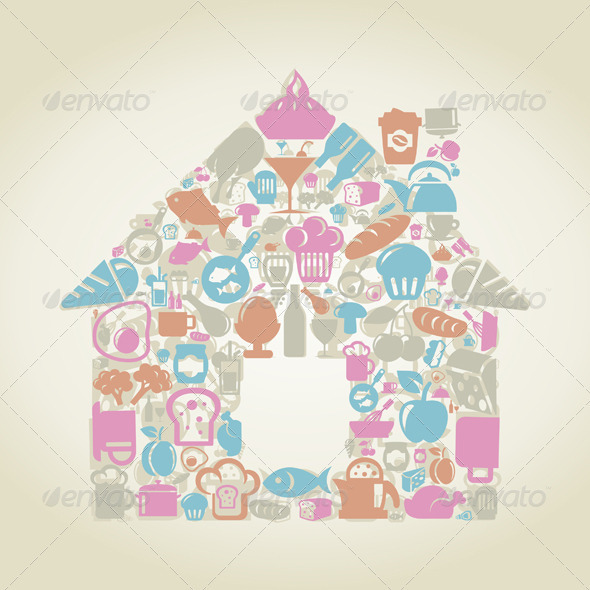 GraphicRiver House Made of Food Elements 3690413