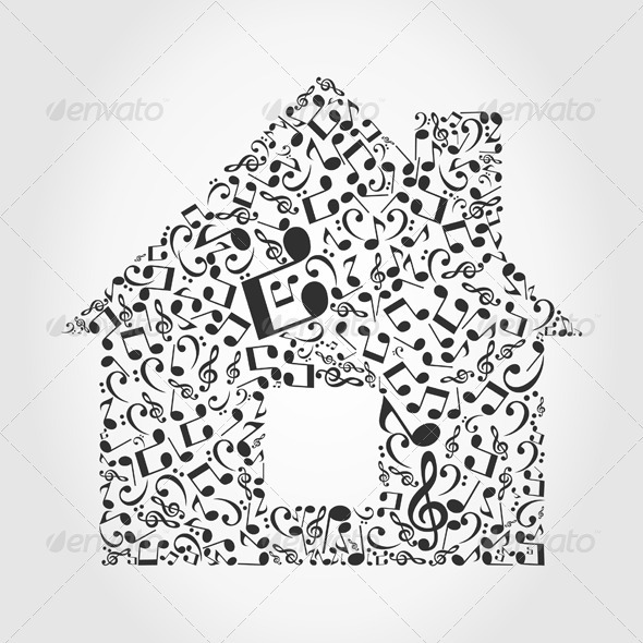 GraphicRiver House Made of Musical Notes 3690465