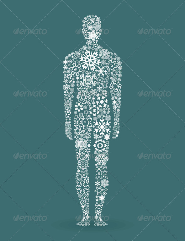 GraphicRiver Person Made of Snowflake Elements 3690559