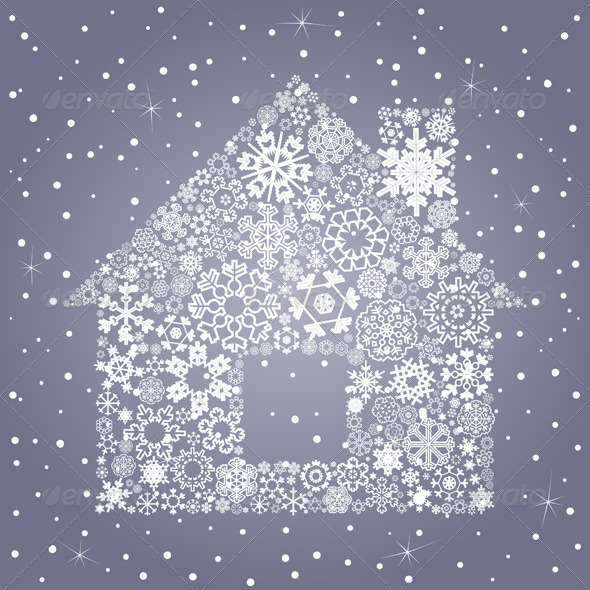GraphicRiver House Made of Snowflakes 3690594