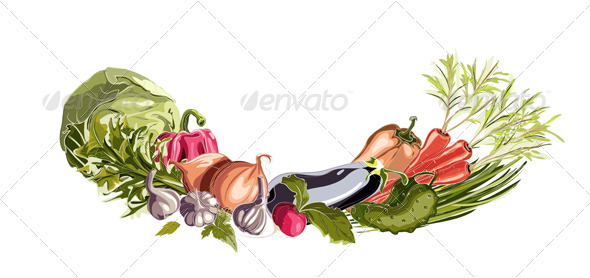 GraphicRiver Vegetables Decorative Composition 3691074
