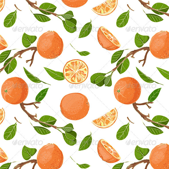 GraphicRiver Fresh Oranges and Leaves Seamless Pattern 3691088