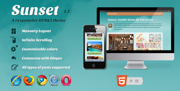 ThemeForest Sunset a Responsive HTML5 theme for Tumblr 2589585