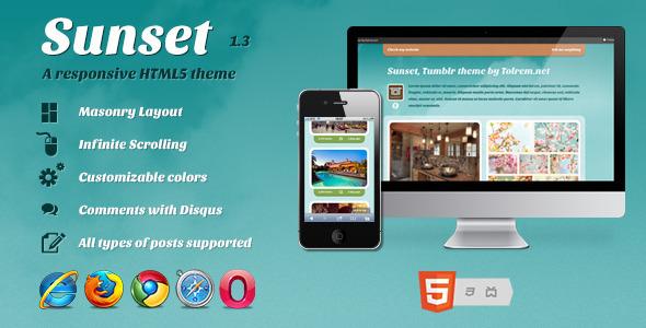 ThemeForest Sunset a Responsive HTML5 theme for Tumblr 2589585