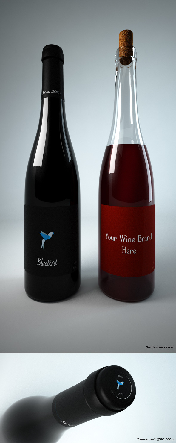 3DOcean Photoreal Wine Bottles Type1- 3D Models -  Food and drinks 397025
