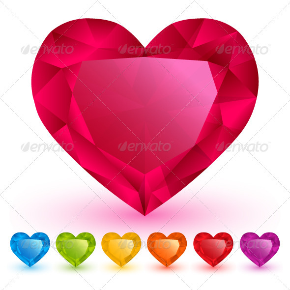 GraphicRiver Diamond Hearts Set 3691787