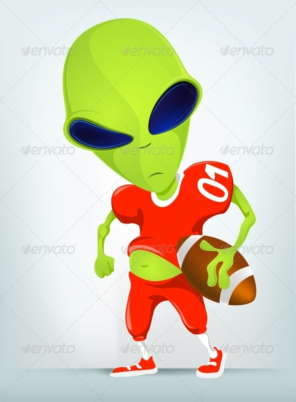 Cartoon Character Alien Rugby