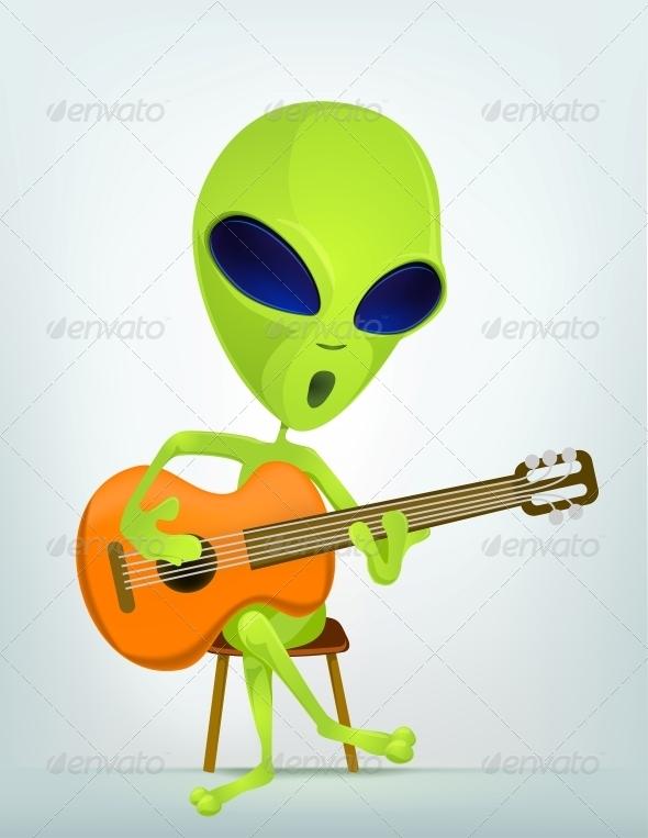 GraphicRiver Cartoon Character Alien Guitarist 3691889