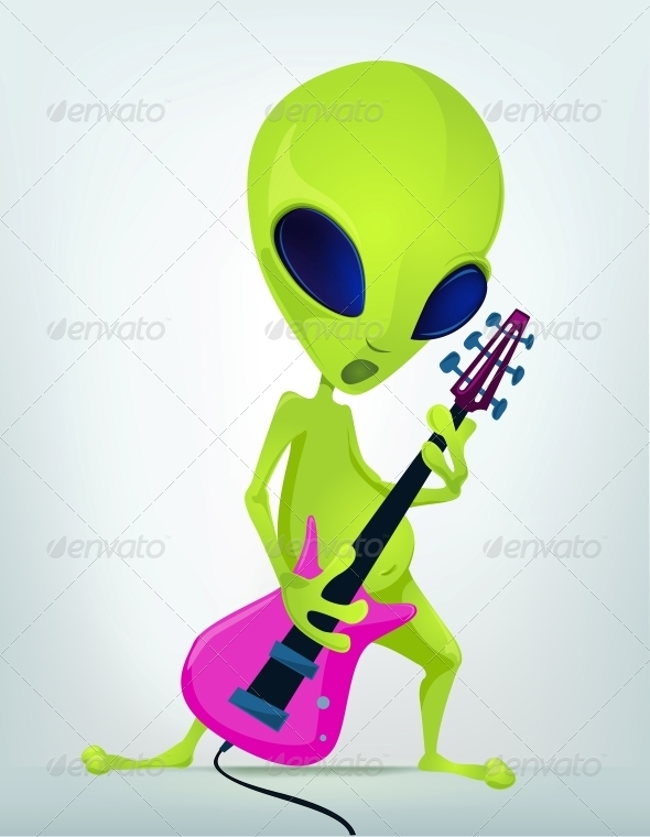 GraphicRiver Cartoon Character Alien Rock Star 3691893