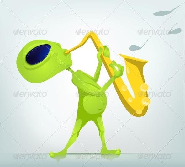 GraphicRiver Cartoon Character Alien Saxophonist 3691900
