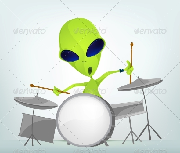Cartoon Character Alien Drummer