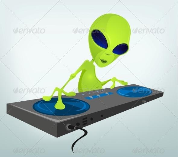 GraphicRiver Cartoon Character Alien DJ 3691907