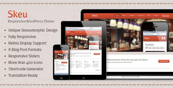 ThemeForest Skeu Skeumorphic Responsive WordPress Theme 3641005