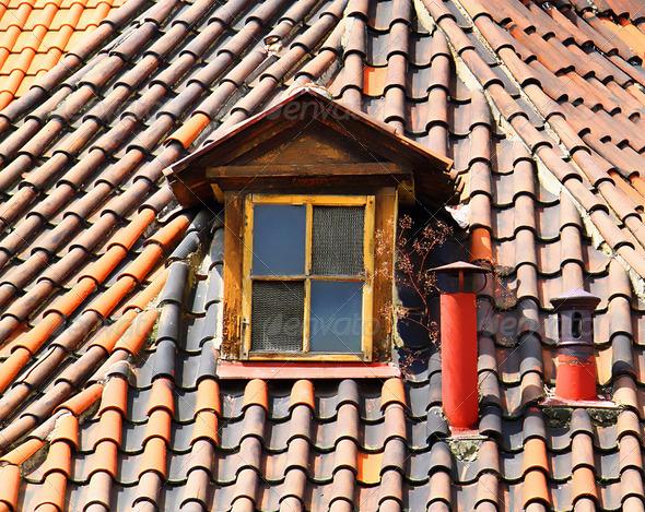 PhotoDune Old tiles roof 3692258