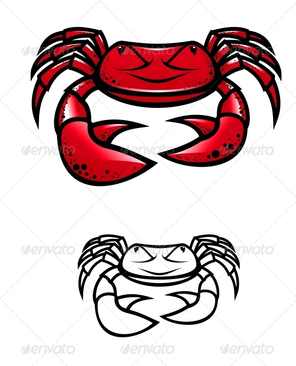 Red Crab with Claws - Animals Characters
