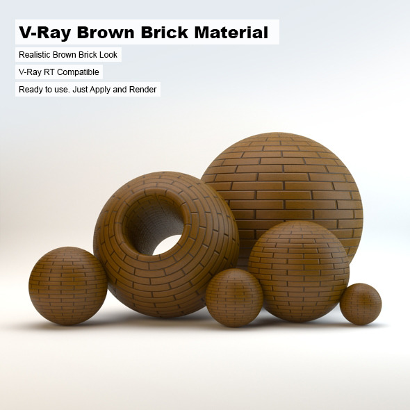 V-Ray Brown Brick Material - 3DOcean Item for Sale
