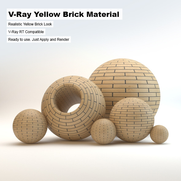 V-Ray Yellow Brick Material - 3DOcean Item for Sale