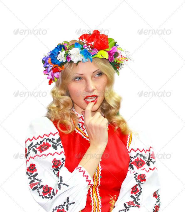 PhotoDune Beautiful girl in the Ukrainian national costume on a white back 3693325