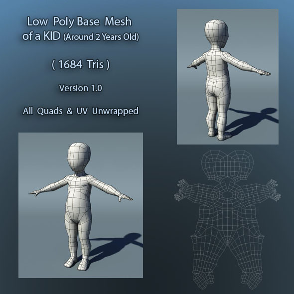 Kid Low Poly Base Mesh Ver1.0 - 3DOcean Item for Sale