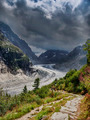 Mer de glace at Mont-Blanc hiking trail