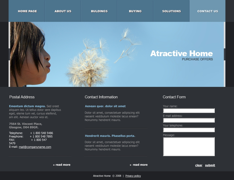 Attractive Home - contacts page
