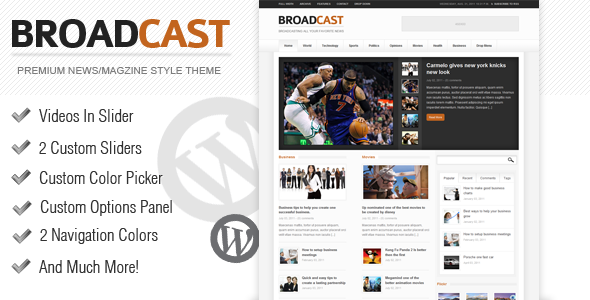 ThemeForest Broadcast News Magazine Wordpress Theme 509077