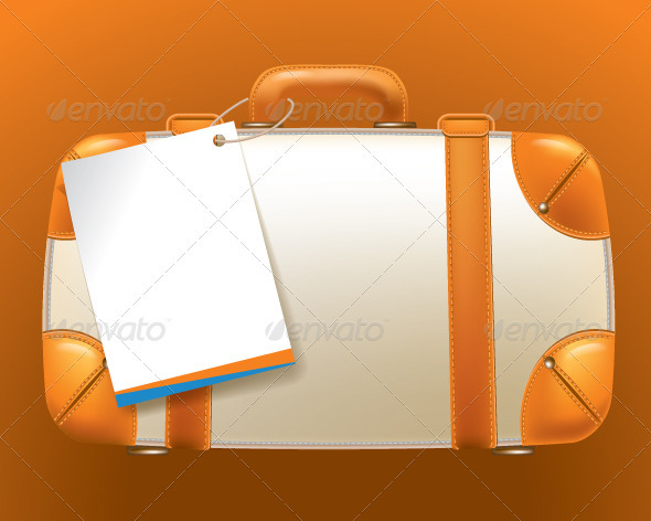 GraphicRiver Brown Suitcase with an Empty Ticket Form 3696406