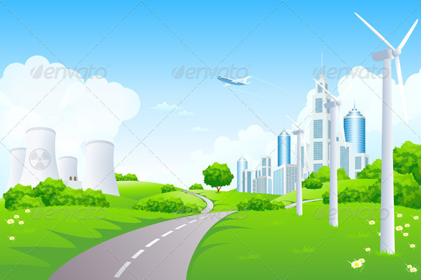 GraphicRiver Green Landscape with City Windmills and Power Plant 3696817