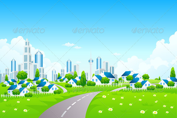 GraphicRiver Green Landscape with City 3697084